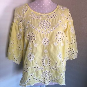 Studio JPR embroidered yellow top / blouse